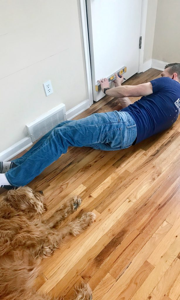 Brian Leveling Molding on Door