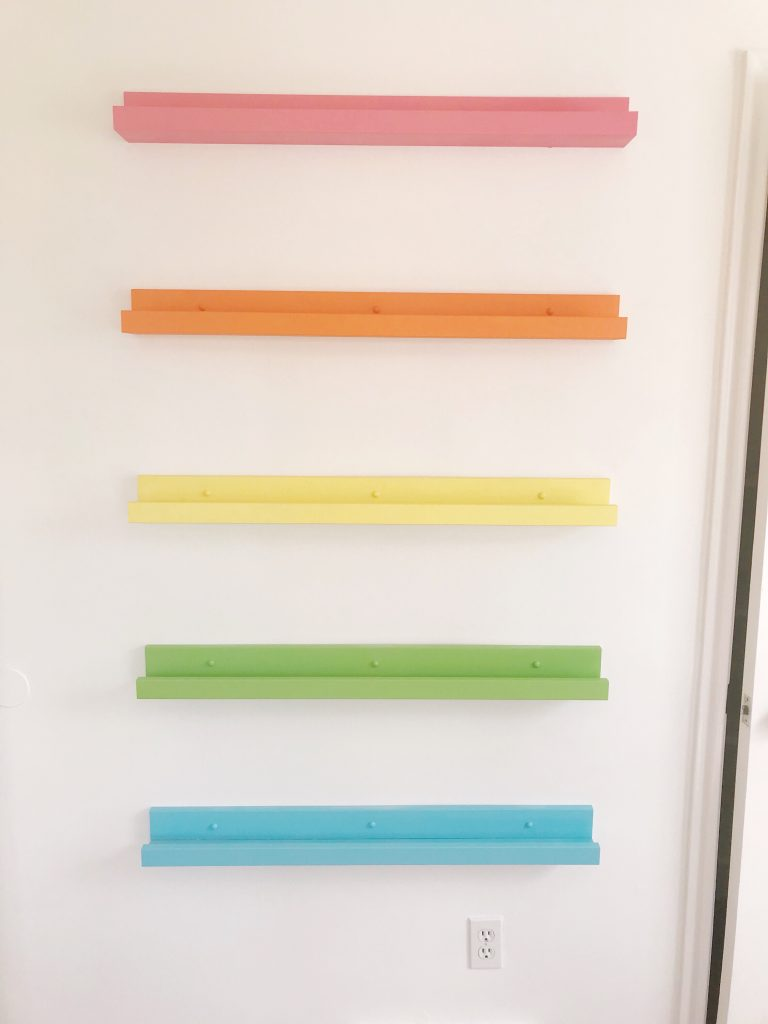 Rainbow Book Ledges on Wall
