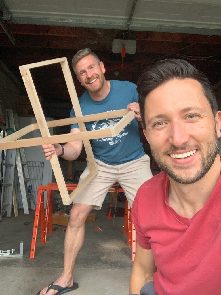 Brian and Jason from Dads by Design with modern DIY coffee table base