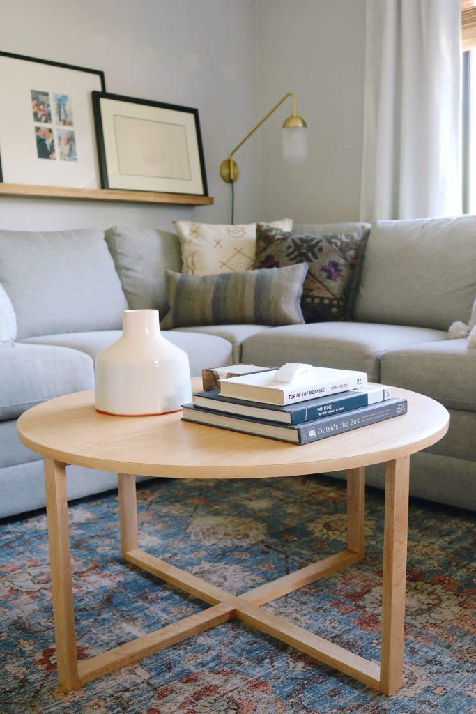 DIY modern round light wood coffee table