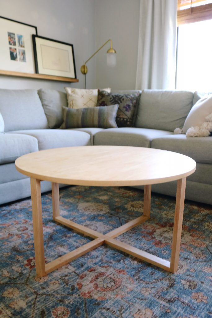 Unstyled modern wood round DIY coffee table