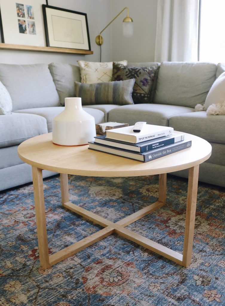 Modern round wood DIY cofee table