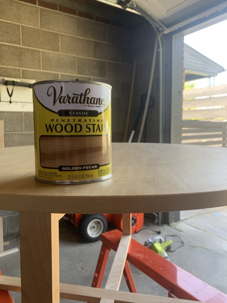 Varathane golden pecan wood stain to be used on modern DIY coffee table