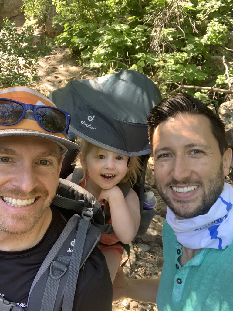 Three happy hikers at the top of Neff's Canyon Loop.